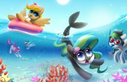 Size: 1275x825 | Tagged: safe, artist:dawnfire, oc, oc:front page, oc:marina (efnw), oc:mocha sunrise, oc:novella, oc:sharp focus, earth pony, pegasus, pony, unicorn, everfree northwest, group, inner tube, snorkel, snorkeling, sunglasses, swimming, water