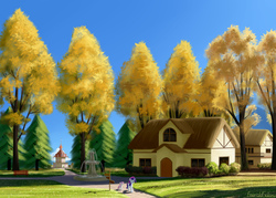 Size: 3500x2500 | Tagged: safe, artist:emeraldgalaxy, rarity, sweetie belle, pony, unicorn, autumn, bench, female, filly, fountain, house, houses, mare, ponyville, ponyville town hall, scenery, scenery porn, siblings, sign, sisters, street, tree