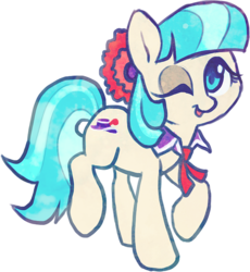 Size: 628x682 | Tagged: safe, artist:dawnfire, coco pommel, earth pony, pony, cocobetes, cute, female, looking at you, mare, one eye closed, simple background, smiling, solo, transparent background, wink