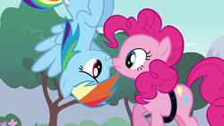 Size: 1920x1080 | Tagged: safe, screencap, pinkie pie, rainbow dash, earth pony, pegasus, pony, pinkie pride, boop, duo, female, mare, noseboop