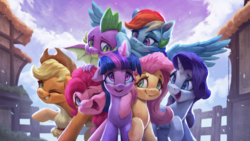 Size: 3200x1800 | Tagged: safe, artist:vanillaghosties, applejack, fluttershy, pinkie pie, rainbow dash, rarity, spike, twilight sparkle, alicorn, dragon, earth pony, pegasus, pony, unicorn, end of ponies, female, glowing horn, horn, hug, magic, magic aura, male, mane seven, mane six, mare, one eye closed, smiling, snow, snowfall, traditional art, twilight sparkle (alicorn), winged spike, wink