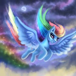Size: 1200x1200 | Tagged: safe, artist:plavanda87, rainbow dash, pegasus, pony, cloud, flying, full moon, moon, rainbow, sky, speedpaint, traditional art