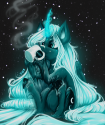 Size: 3355x4008 | Tagged: alicorn, artist:thewickedvix, chocolate, cozy, drinking, female, food, glowing horn, horn, hot chocolate, mare, pony, princess luna, safe, snow, snowfall, solo, unshorn fetlocks