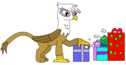 Size: 3198x1645 | Tagged: artist:supahdonarudo, christmas, christmas presents, gilda, griffon, holding, holiday, present, safe, simple background, transparent background