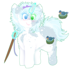 Size: 1024x988 | Tagged: albino, artist:vanillaswirl6, blind, cutie mark, female, glowing horn, heterochromia, horn, magic, oc, oc:late winter, pony, safe, simple background, telekinesis, transparent background, unicorn, walking stick