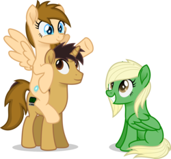 Size: 3600x3346   Tagged: safe, artist:peahead, oc, oc only, oc:data wave, oc:stellar winds, pegasus, pony, unicorn, blue eyes, brown eyes, female, grin, happy, high res, male, mare, piggyback ride, ponies riding ponies, raised hoof, riding, simple background, sitting, smiling, spread wings, stallion, transparent background, transparent mane, trio, vector, wings