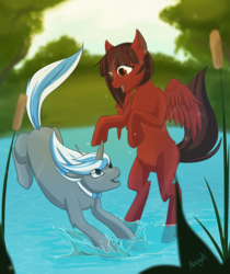 Size: 4404x5246 | Tagged: safe, artist:nougat, oc, oc:cinnamon pop, oc:sekr gray, pony, unicorn, bowtie, cattails, eyepatch, lake, missing cutie mark, sekramon, shipping, splashing, splashing ponies, ych result