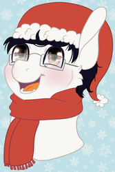 Size: 641x957 | Tagged: artist:sparky, bust, christmas, clothes, glasses, hat, holiday, oc, oc:golden note, safe, santa hat, scarf, smiling, snow, snowflake, solo