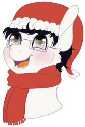 Size: 641x957 | Tagged: alternate version, artist:sparky, background removed, bust, christmas, clothes, glasses, hat, holiday, oc, oc:golden note, safe, santa hat, scarf, simple background, smiling, solo, transparent background