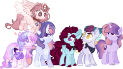 Size: 2372x1340 | Tagged: alicorn, alicorn oc, alternate universe, artist:jaysey, artist:jisootheartist, artist:lavender-doodles, artist:moonie-dreams, artist:moon-rose-rosie, artist:nighty-drawz, artist:shiibases, bandana, base used, collaboration, collar, earth pony, earth pony oc, female, femboy, flying, hair over eyes, hair over one eye, magical lesbian spawn, male, oc, oc:astral breeze, oc:lapis skies, oc:moon magic, oc:sakura evelyn, offspring, parent:rainbow dash, parents:twidash, parent:twilight sparkle, pegasus, pegasus oc, safe, simple background, transparent background, unicorn, unicorn oc