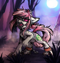 Size: 1339x1399 | Tagged: alternate version, angry, artist:lonerdemiurge_nail, chains, cuffs, drool, earth pony, female, feral, fog, forest, full moon, hengstwolf, looking at you, mare, moon, night, oc, oc:hopple scotch, oc only, pony, raised leg, safe, solo, species swap, werewolf, ych result