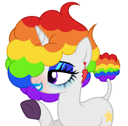 Size: 2026x1991 | Tagged: safe, artist:lazuli, artist:rioshi, artist:starshade, oc, oc only, oc:crystal, pony, unicorn, afro, female, grin, lipstick, mare, multicolored hair, rainbow hair, raised hoof, simple background, smiling, solo, white background, ych result