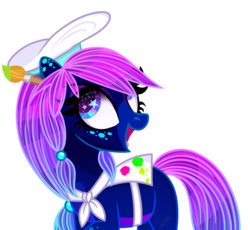Size: 2160x1986 | Tagged: safe, artist:domina-venatricis, oc, oc:tia hunter, earth pony, pony, female, hat, mare, paintbrush, simple background, solo, transparent background