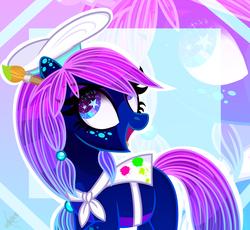 Size: 2160x1986 | Tagged: safe, artist:domina-venatricis, oc, oc:tia hunter, earth pony, pony, female, hat, mare, paintbrush, solo
