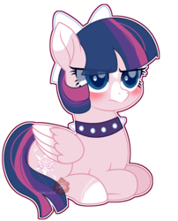 Size: 1768x2188 | Tagged: safe, artist:themisslittledevil, oc, oc:lily lotus, pegasus, pony, blushing, bow, choker, eye clipping through hair, female, hair bow, mare, prone, simple background, solo, spiked choker, transparent background, two toned wings, wings