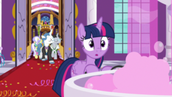 Size: 1920x1080 | Tagged: alicorn, between dark and dawn, fancypants, fountain, jet set, safe, screencap, spoiler:s09e13, twilight sparkle, twilight sparkle (alicorn), upper crust