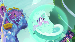Size: 1920x1080 | Tagged: bath, bathtub, bathtub gag, father knows beast, female, hat, levitation, magic, magic aura, magic bubble, mare, pony, safe, screencap, self-levitation, shower cap, solo, starlight glimmer, suds, telekinesis, twilight's castle, unicorn