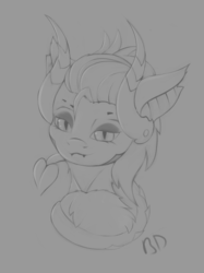 Size: 1628x2180 | Tagged: artist:batsdisaster, bust, devil horns, devil tail, fangs, female, grayscale, horns, imp, looking at you, mare, mercy, monochrome, overwatch, ponified, pony, safe, sketch, smiling, solo, tail