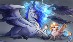 Size: 2400x1400 | Tagged: alicorn, alicorn oc, alternate universe, artist:bootsdotexe, celestia and luna's mother, curling horn, curved horn, duo, ethereal mane, eyes closed, feather, female, filly, filly celestia, floppy ears, foal, four wings, glowing horn, glowing mane, gray background, horn, jewelry, leonine tail, lidded eyes, mare, multiple wings, necklace, oc, oc:aetheria concordia, pony, princess celestia, prone, puffy cheeks, realistic horse legs, safe, seraph, seraphicorn, shoulder fluff, simple background, smiling, spread wings, unshorn fetlocks, wing fluff, wings, younger