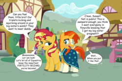 Size: 3000x2000 | Tagged: safe, artist:boneswolbach, artist:cloudyglow, artist:famousmari5, edit, edited edit, editor:wild stallions, sunburst, sunset shimmer, pony, unicorn, comic:the first incestuous foal of sunset shimmer, brother and sister, clopfic in the comments, clothes, description is relevant, embarrassed, explicit description, female, flirting, glasses, incest, male, ponyville, pregnant, robe, shimmerburst, shipping, siblings, speech bubble, straight, sunburst's robe, suncest, suncest shimmer, sunny siblings, sunset preggers, vector
