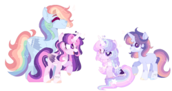 Size: 1216x646 | Tagged: safe, artist:moon-rose-rosie, artist:strawberry-spritz, rainbow dash, twilight sparkle, oc, oc:astral breeze, oc:celestial moon, alicorn, pegasus, pony, unicorn, alicorn oc, alternate design, base used, female, femboy, magical lesbian spawn, male, offspring, parent:rainbow blitz, parent:rainbow dash, parent:twilight sparkle, parents:twiblitz, parents:twidash, rainbow blitz, rule 63, simple background, transparent background, twilight sparkle (alicorn), unicorn oc