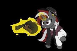 Size: 4504x3000   Tagged: safe, artist:aaathebap, oc, oc only, oc:lucky hoof, pony, unicorn, fallout equestria, fallout equestria oc, gangster, levitation, mafia, magic, simple background, telekinesis, tommy gun, transparent background