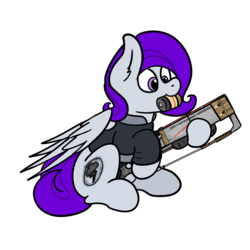 Size: 3000x3000   Tagged: safe, artist:aaathebap, oc, oc:morning glory (project horizons), pegasus, pony, fallout equestria, fallout equestria: project horizons, brand, cute, dashite, dashite brand, fallout, fanfic, fanfic art, female, hoof hold, hooves, laser, laser rifle, mare, mouth hold, png, simple background, sitting, solo, transparent background, wings