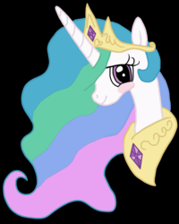 Size: 1080x1351 | Tagged: alicorn, artist:lyra h. strings, blushing, cute, female, jewelry, looking at you, mare, pony, princess celestia, regalia, safe, solo