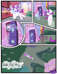 Size: 3500x4500 | Tagged: artist:becauseimpink, bed, carousel boutique, comic, comic:transition, elusive, glowing horn, horn, magic, male, pony, rarity, rule 63, running, safe, stallion, telekinesis, unicorn