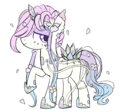 Size: 1654x1534 | Tagged: artist:peachesandcreamated, crystalline, earth pony, flower, flower in hair, hair over one eye, hoof shoes, oc, oc:echo essence, oc only, pony, raised hoof, safe, simple background, white background