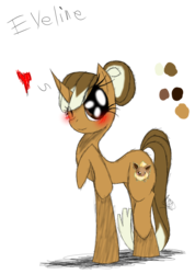 Size: 985x1385 | Tagged: artist:didun850, eevee, female, heart, mare, oc, oc:eveline, oc only, one eye closed, pokémon, pony, raised hoof, safe, simple background, solo, transparent background, unicorn, wink