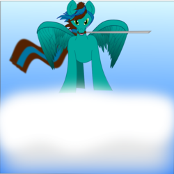 Size: 800x800 | Tagged: artist:auroraswirls, cloud, katana, mouth hold, oc, oc only, oc:samurai guardian, on a cloud, pegasus, pony, safe, solo, sword, weapon, windswept mane