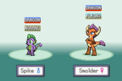 Size: 1200x800 | Tagged: artist:tarkan809, derpibooru exclusive, dragon, dragoness, duo, female, gameboy advance, male, pixel art, pokemon firered, pokemon red, safe, smolder, spike, style emulation