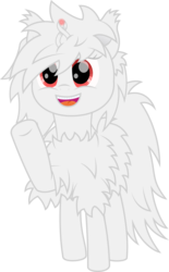 Size: 1854x3000 | Tagged: 2020 community collab, albino, artist:onil innarin, cute, derpibooru community collaboration, female, fluffy, ina, looking at you, magic, oc, oc only, original species, red eyes, safe, simple background, smiling, transparent background, vector, waving