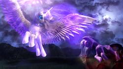 Size: 3840x2160   Tagged: safe, artist:etherium-apex, alicorn, pony, unicorn, 3d, aurum, blender