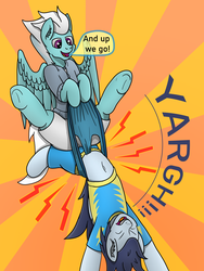 Size: 3024x4032 | Tagged: safe, artist:tacomytaco, fleetfoot, soarin', pegasus, pony, comic:wedgiebolts academy, belly button, blue underwear, briefs, clothes, comic, comic page, eyes closed, female, flying, frontal wedgie, male, midriff, pain, shirt, shorts, spread wings, sunburst background, text, underwear, upside down, wedgie, wings