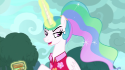 Size: 1920x1080 | Tagged: alicorn, alternate hairstyle, annoyed, between dark and dawn, celestia is not amused, clothes, ethereal mane, female, flowing mane, folded wings, food, glowing horn, hawaiian shirt, horn, lidded eyes, mare, ponytail, princess celestia, safe, sandwich, screencap, shirt, solo, spoiler:s09e13, unamused, wings