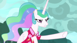Size: 1920x1080 | Tagged: alicorn, alternate hairstyle, angry, barehoof, between dark and dawn, celestia is not amused, clothes, ethereal mane, female, flowing mane, folded wings, hawaiian shirt, mare, narrowed eyes, pointing, ponytail, princess celestia, safe, screencap, shirt, solo, spoiler:s09e13, unamused, wings