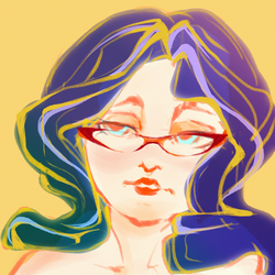 Size: 3000x3000 | Tagged: safe, artist:haokan, rarity, human, glasses, humanized, rarity's glasses, simple background, sketch, solo, yellow background