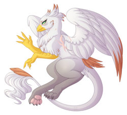 Size: 4710x4272 | Tagged: absurd resolution, artist:amazing-artsong, female, griffon, oc, oc:yvaine, safe, scar, simple background, solo, transparent background