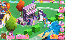 Size: 1280x800   Tagged: safe, screencap, apple bloom, rainbow dash, rarity, sugar belle, symphony, twilight sparkle, pegasus, pony, unicorn, alternate hairstyle, balloon, book, book of friendship, bush, clothes, dress, house, rainbow dash always dresses in style, shop, stand, statue, tree