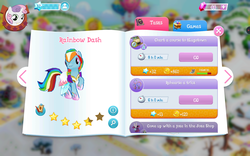 Size: 1280x800 | Tagged: safe, screencap, hoops, rainbow dash, sweetie belle, pegasus, pony, rabbit, unicorn, alternate hairstyle, animal, clothes, compass, dress, gem, hat, hoof shoes, info, rainbow dash always dresses in style, search, stars