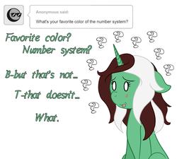 Size: 1280x1150 | Tagged: safe, artist:phoenixswift, oc, oc:peppermint pattie (unicorn), pony, unicorn, ask peppermint pattie, female, mare, question mark, solo