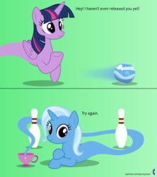 Size: 4096x4608 | Tagged: absurd resolution, ain't never had friends like us, alicorn, artist:parclytaxel, ask, bowling, bowling ball, bowling pin, comic, crossed hooves, cup, female, genie, genie pony, gradient background, inanimate tf, looking at you, mare, morph ball, pony, prone, safe, smiling, spin dash, .svg available, taunting, teacup, that pony sure does love teacups, transformation, trixie, trixieball, tumblr, twilight sparkle, twilight sparkle (alicorn), unicorn, vector