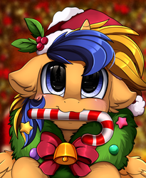 Size: 1446x1764 | Tagged: alicorn, alicorn oc, artist:pridark, bell, blue eyes, candy, candy cane, christmas, commission, cute, food, hat, holiday, oc, ocbetes, oc:wartex shine, pony, safe, santa hat, solo, wreath, ych result