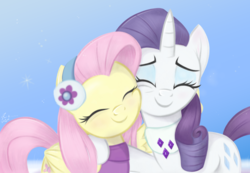 Size: 4624x3195   Tagged: safe, artist:fladdrarblyg, fluttershy, rarity, pegasus, pony, unicorn, clothes, duo, earmuffs, eyes closed, female, folded wings, hug, mare, one wing out, smiling, snow, speedpaint, squishy cheeks, sweater, sweatershy, winghug, wings, winter, winter outfit