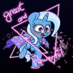 Size: 1500x1500 | Tagged: artist:lou, blushing, cape, clothes, great and powerful, looking at you, neon lights, rising star, safe, smiling, trixie, trixie's cape, unicorn