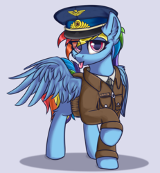 Size: 2000x2160 | Tagged: alternate version, artist:lakunae, cheek fluff, clothes, ear fluff, eye clipping through hair, female, hat, leg fluff, looking at you, mare, military, military uniform, pegasus, pilot, pony, rainbow dash, safe, simple background, solo, soviet, tongue out, wing fluff, wings