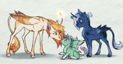 Size: 2249x1169 | Tagged: safe, artist:bootsdotexe, princess celestia, princess luna, oc, oc:orion, oc:orion concordia, alicorn, pony, seraph, seraphicorn, comic:beyond our borders, alicorn oc, alternate design, alternate universe, brother and sister, colored hooves, colt, curved horn, eye contact, feathered ears, female, filly, fire, foal, four wings, horn, leonine tail, looking at each other, male, multiple wings, siblings, signature, simple background, sisters, snip (coat marking), tail feathers, trio, wings, younger