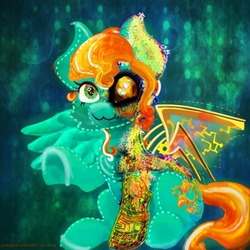 Size: 500x500 | Tagged: safe, artist:pumpkin-somethin-art, oc, oc:sarah quill, cyborg, pegasus, pony, artificial wings, augmented, cybernetic eyes, mechanical legs, mechanical wing, solo, wings